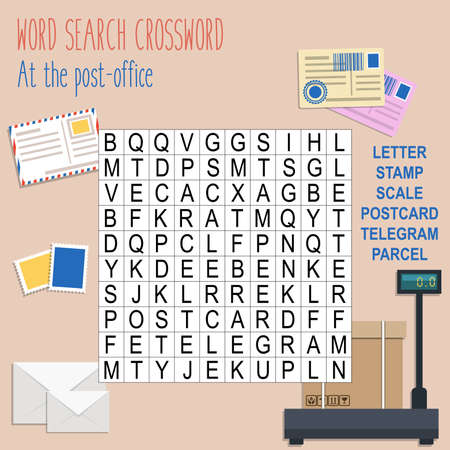 Easy word search crossword puzzle 'At the post-office', for children in elementary and middle school. Fun way to practice language comprehension and expand vocabulary. Includes answers. Vector illustration. Illustration