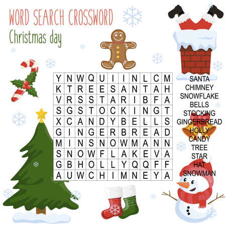 Easy word search crossword puzzle 'Christmas day', for children in elementary and middle school. Fun way to practice language comprehension and expand vocabulary.Includes answers. Vector illustration.