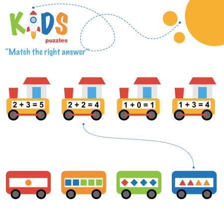 Easy colorful math match the right answer worksheet practice for preschool and elementary school kids. Ilustracje wektorowe