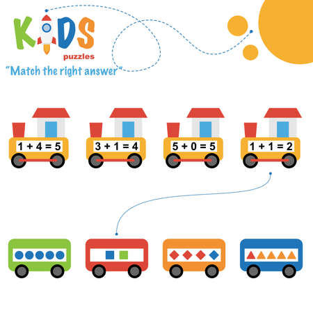 Easy colorful math match the right answer worksheet practice for preschool and elementary school kids. 일러스트