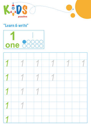 Learning numbers. Learn and write numbers. Easy colorful worksheet for preschool, elementary and middle school kids.