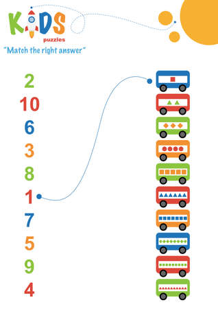Learning numbers worksheet. Math worksheet match the right answer. Easy colorful worksheet for preschool, elementary and middle school kids.