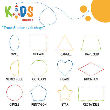 Trace & color the shape. Preschool worksheet practice. Printable easy and colorful worksheet for kids.