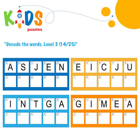 Decode the 5-letter words. Worksheet practice for preschool, elementary and middle school kids. Fun logic puzzle activity sheet.