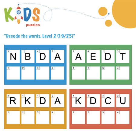 Decode the 4-letter words. Worksheet practice for preschool, elementary and middle school kids. Fun logic puzzle activity sheet.