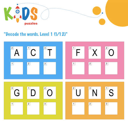 Decode the 3-letter words. Worksheet practice for preschool, elementary and middle school kids. Fun logic puzzle activity sheet.