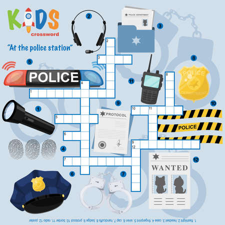 """Easy crossword puzzle """"At the police station"""", for children in elementary and middle school. Fun way to practice language comprehension and expand vocabulary. Includes answers. Ilustración de vector"""