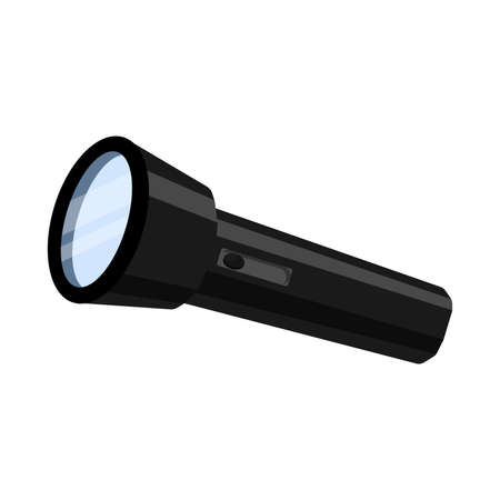 Cartoon black flashlight, vector illustration