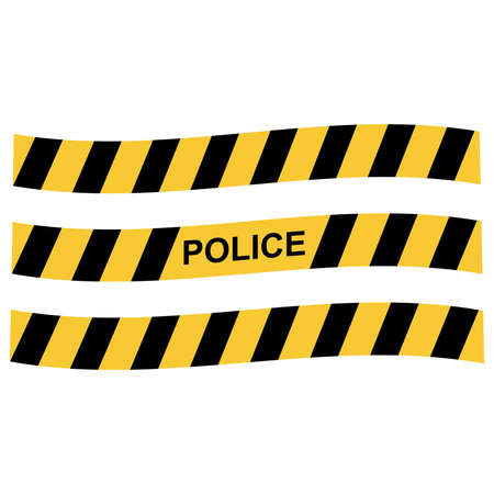Cartoon police border tape stripes, vector illustration Ilustração