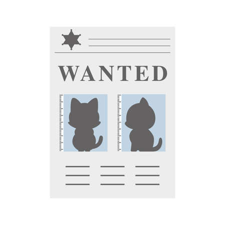 Cartoon icon of the wanted poster with cat suspect, vector illustration