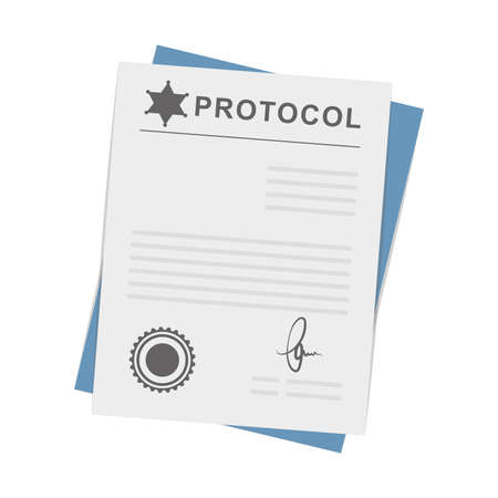Cartoon icon of police protocol documentation, vector illustration