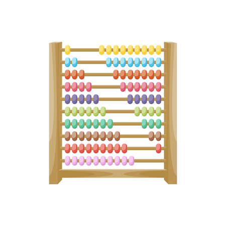 Cartoon wooden colorful abacus, vector illustration