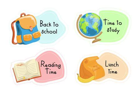 Back to School cartoon stickers set, illustration Ilustração