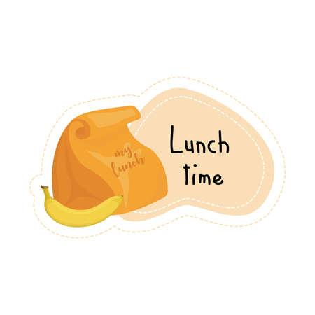 Back to School cartoon lunch bag lunch time sticker, illustration Ilustração