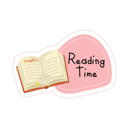 Back to School cartoon book reading time sticker, vector illustration Ilustração