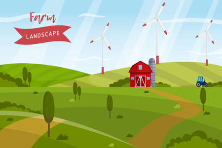 Green energy farm landscape, windmills on the green hills. vector illustration