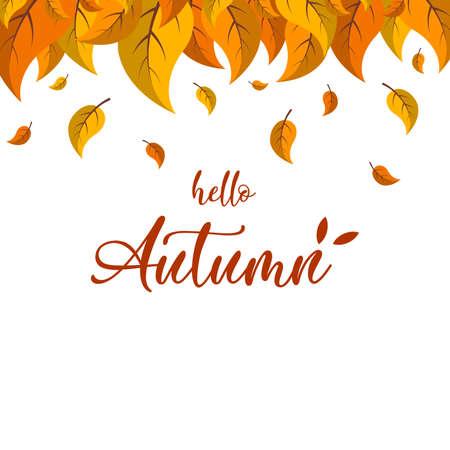 Cartoon autumn leaves. Hello Autumn lettering on the white background, vector illustration.