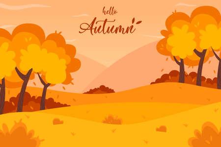 Autumn landscape background. Hello Autumn lettering   vector illustration. Ilustração