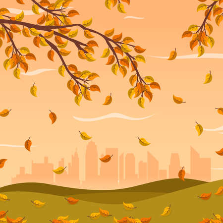 Autumn landscape city park background. Autumn fall, vector illustration.