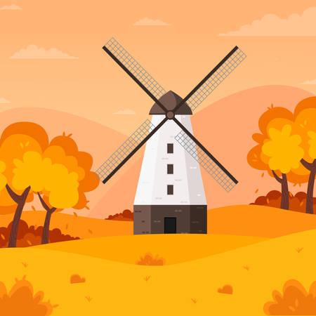 Autumn landscape background with farm windmill, vector illustration.