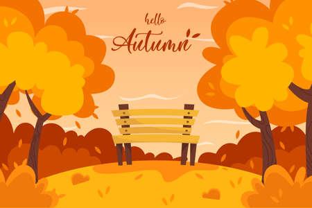 Autumn landscape bench in the park background . Ilustração