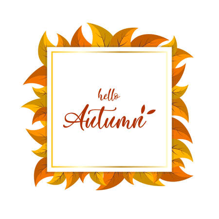 Hello Autumn lettering on the square banner card with autumn orange yellow leaves. Vector illustration Ilustração