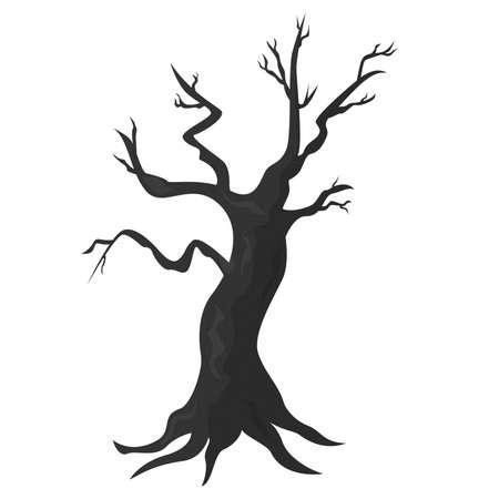 Cartoon spooke halloween tree. Vector illustration