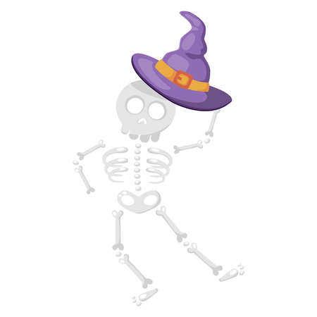 Cartoon cute dancing skeleton character handing a purple witch hat. Vector illustration for Halloween holiday