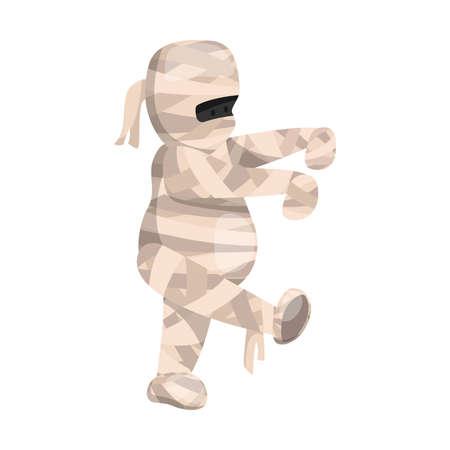 Cartoon cute walking mummy character. Vector illustration for Halloween holiday Ilustração