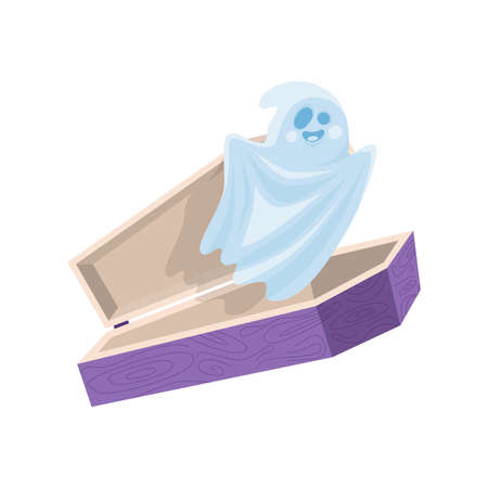 Cartoon cute halloween ghost fly out the coffin. Vector illustration.