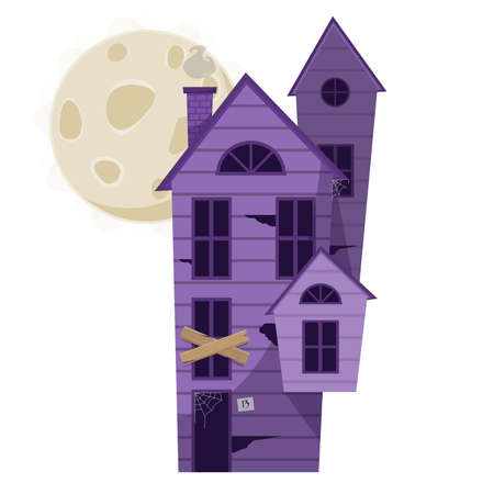 Cartoon haunted poorple wooden witch house with big moon. vector illustration for Halloween holiday Ilustração