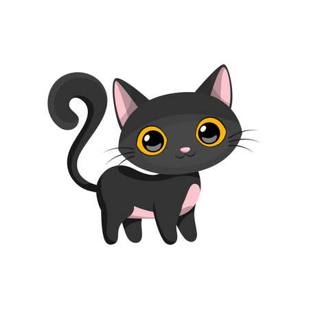 Cartoon cute little black cat, vector illustration. Ilustração