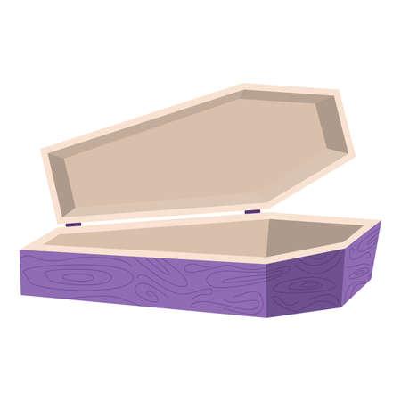 Cartoon Halloween purple wooden coffin, vector illustration Ilustração