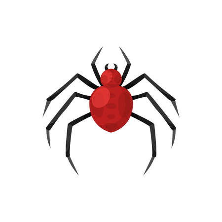 Cartoon spooky red spider . Vector illustration for Halloween holiday