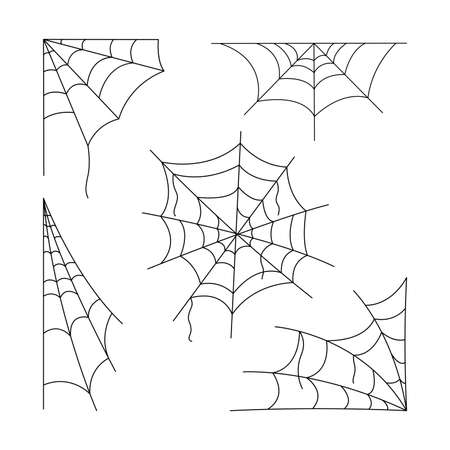 Cartoon cobweb set, vector illustration for Halloween holiday