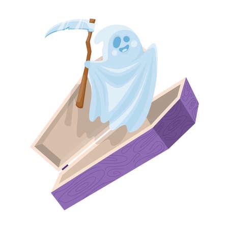 Cartoon cute halloween ghost fly out the coffin holding scythe. Vector illustration.
