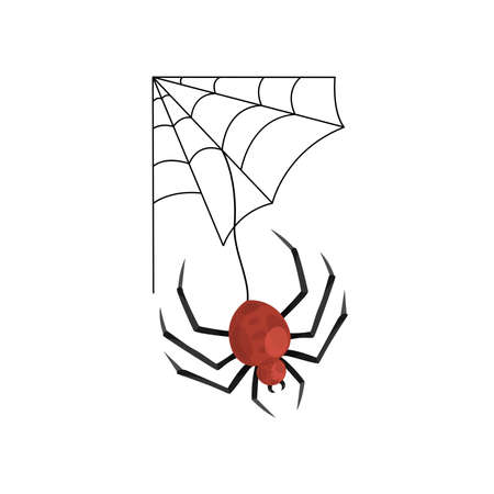 Cartoon cobweb and spooky red spider . Vector illustration for Halloween holiday