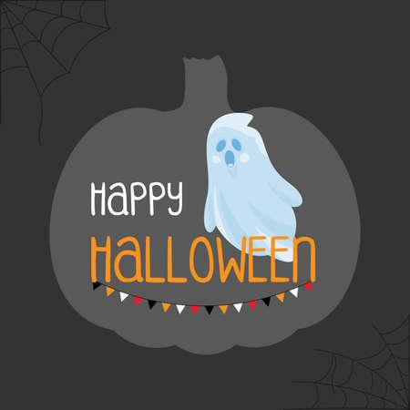 Happy Halloween ghost cartoon background, vector illustration