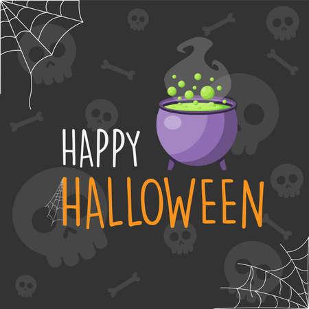 Happy Halloween purple cauldron cartoon background, vector illustration Ilustração