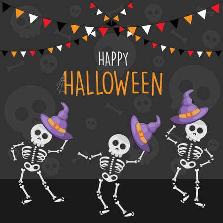 Happy Halloween dancing skeletons cartoon background, vector illustration Ilustração