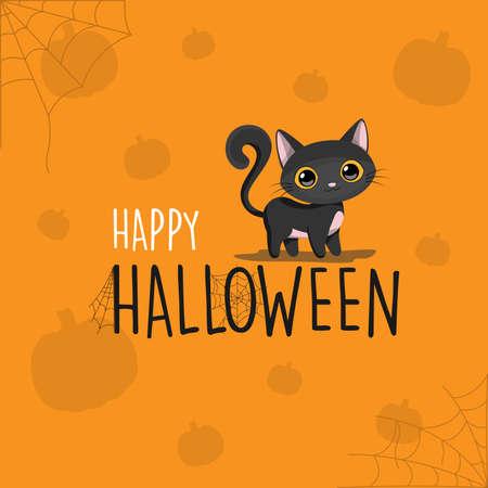 Happy Halloween black cat cartoon orange background, vector illustration