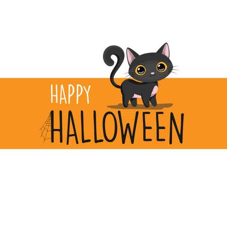 Happy Halloween black cat cartoon banner background, vector illustration Ilustração
