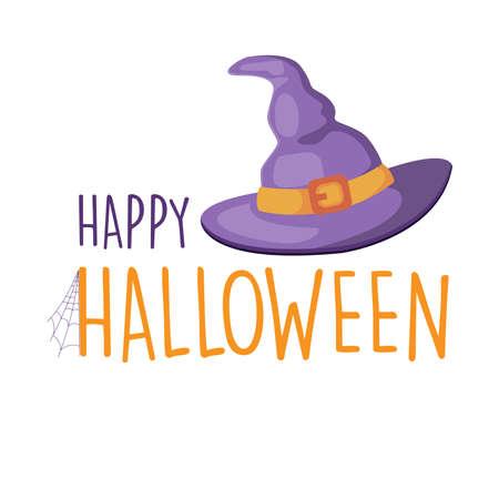 Happy Halloween purple witch hat, vector illustration background Ilustração