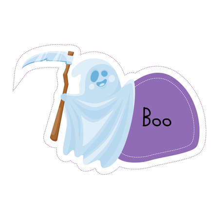 Cartoon Halloween ghost with scythe Boo sticker. Vector illustration. Ilustração
