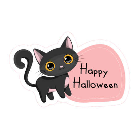 Cartoon Happy Halloween black cat sticker. Vector illustration.