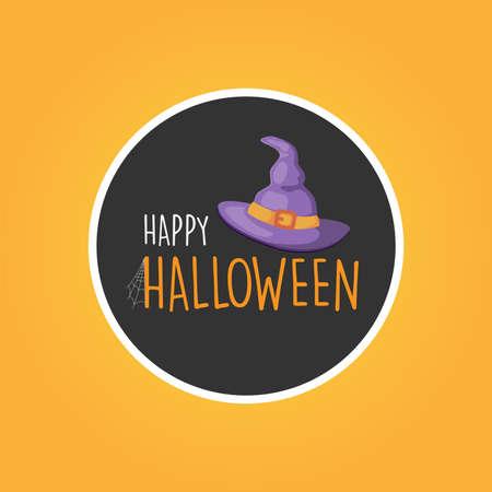 Happy Halloween with purple witch hat round banner logo background, vector illustration Ilustração