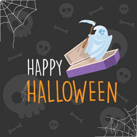 Happy Halloween ghost in the coffin cartoon background, vector illustration Ilustração