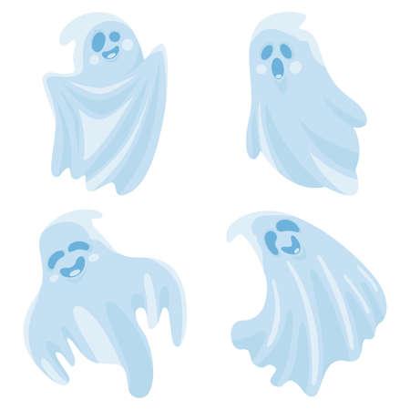 Cartoon cute halloween ghosts set. Vector illustration.