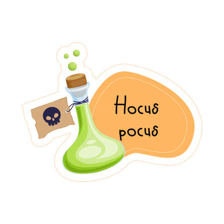 Cartoon Halloween green poison Hocus pocus sticker. Vector illustration.