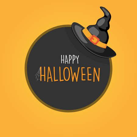 Happy Halloween with black witch hat round banner logo background, vector illustration